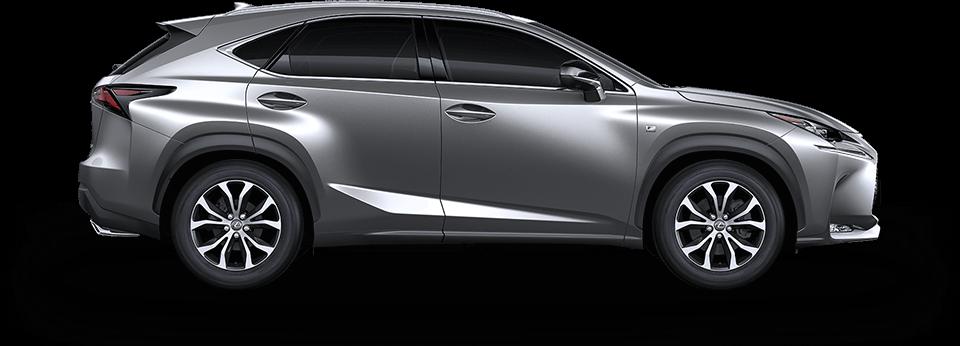 Zijaanzicht grijze Lexus NX 300h