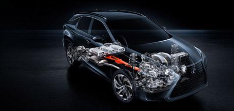 Grafische tekening van een Lexus RX 450h met Lexus Hybrid Drive