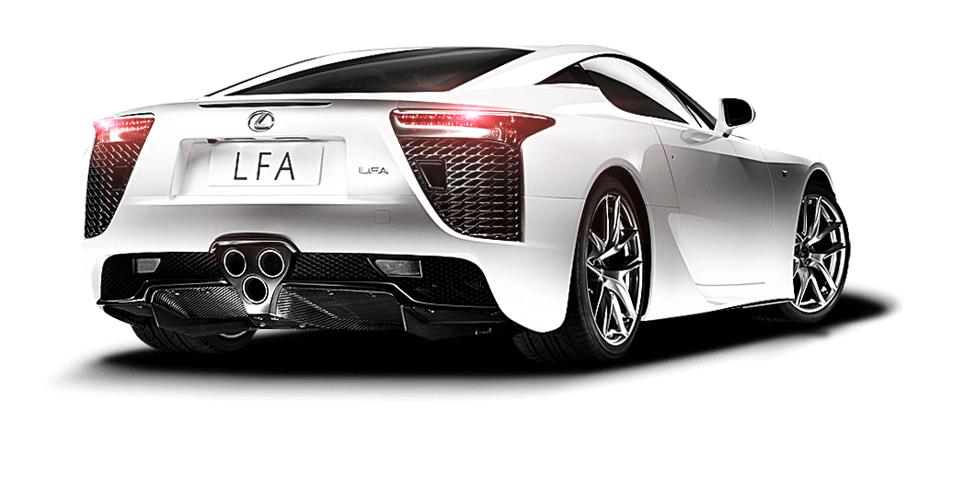 Achteraanzicht van een witte Lexus LFA