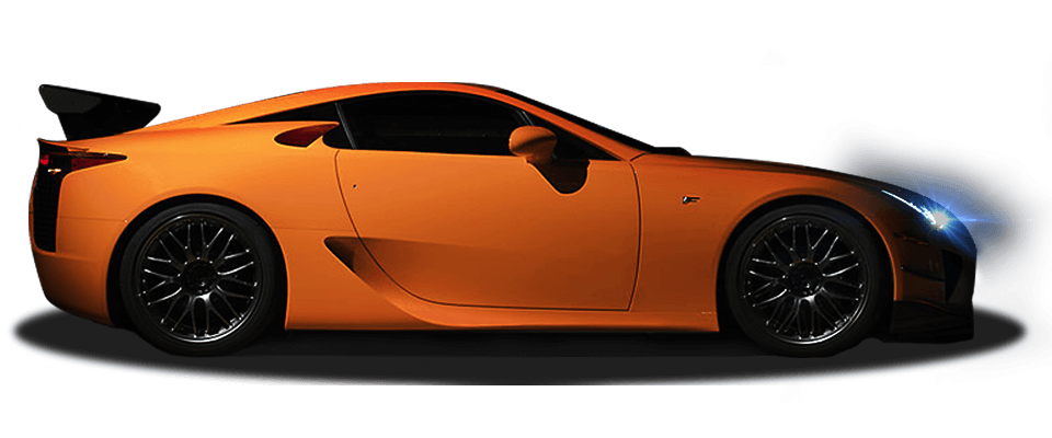 Zijkant oranje Lexus LFA