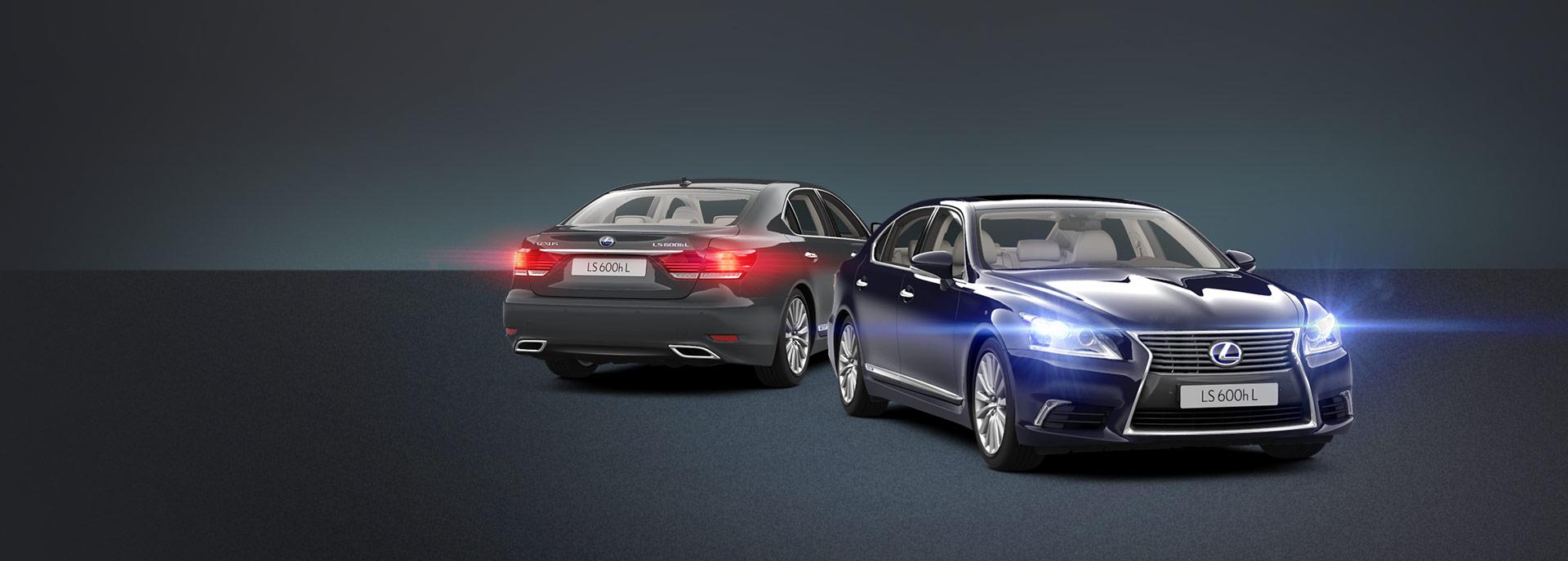Voor en achteraanzicht Lexus LS 600h L