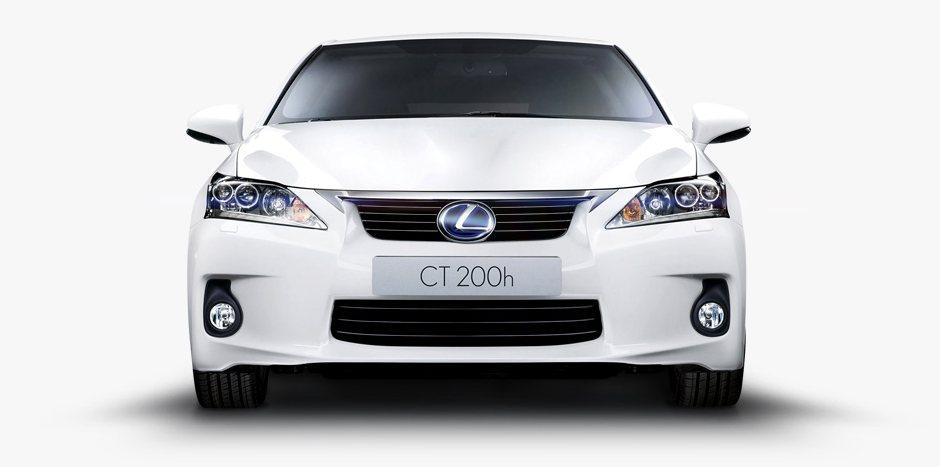 Witte Lexus CT 200h vooraanzicht