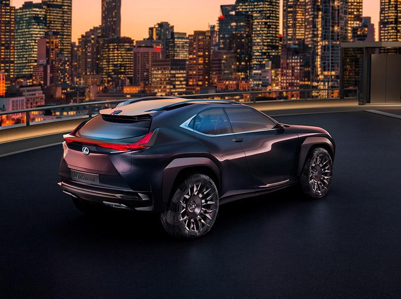 Achteraanzicht van een paarsbruine Lexus UX Concept
