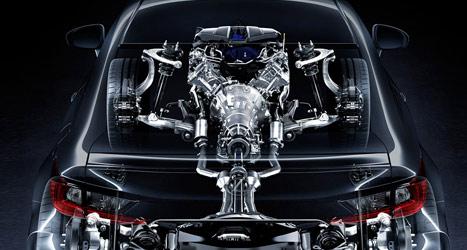 Technische tekening van een Lexus RC F