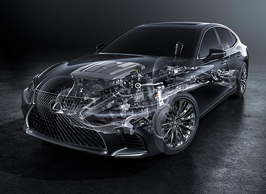 Teknisk bild Lexus LS 500 snett framifrån
