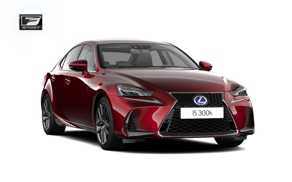 Röd Lexus IS 300h F SPORT 2017