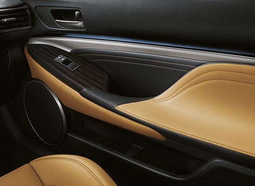 Dörrsida Lexus RC 300h med träinlägg