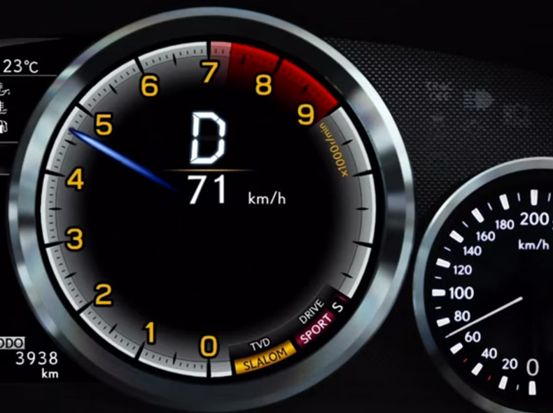 Videobild Hastighetsmätare Lexus RC F